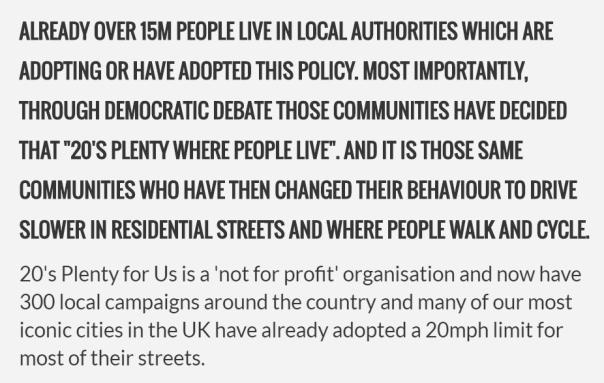 20s plenty campaign - short description